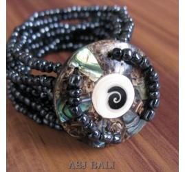 bracelets beads seashells stretch abalone nautilus