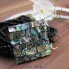 bracelets beads seashells stretch abalone sequare