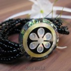 bracelets beads seashells stretch hand carved