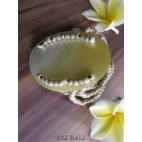 bracelets beads seashells stretch natural golden