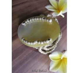 bracelets beads seashells stretch natural golden