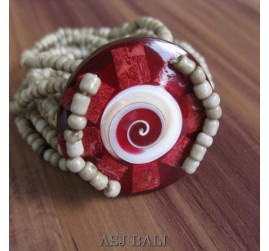 bracelets beads pendant seashells red nautilus