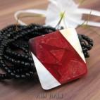 bracelets beads seashells stretch sequare red