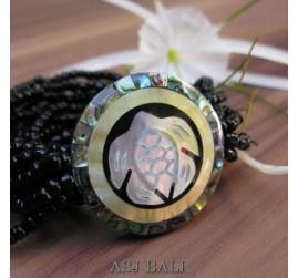 bracelets beads seashells stretch turtle carved