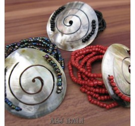 multi seed bracelets beads sea shells stretch mix