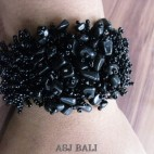 beads stone bracelet stretch handmade black