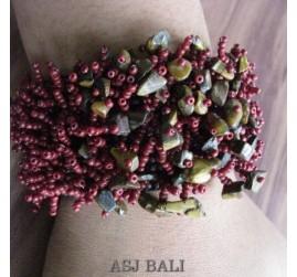 beads stone bracelet stretch handmade marron