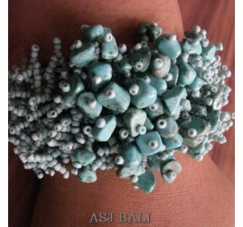 beads stone bracelet stretch handmade turquoise