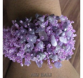 beads stone bracelet stretch handmade violet