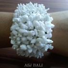 beads stone bracelet stretch handmade white