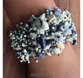 beads stone bracelet stretch mix color