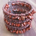 cuff beads bracelets stone brown