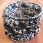 cuff beads bracelets stone grey