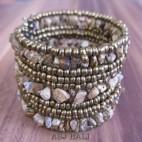 handmade bracelet beads cuff link stone golden