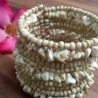 handmade bracelet beads cuff link stone beige
