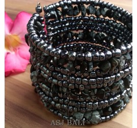 handmade bracelet beads cuff link stone black