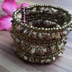 handmade bracelet beads cuff link stone brown