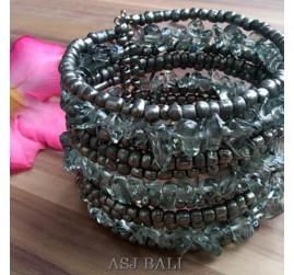 handmade bracelet beads cuff link stone grey
