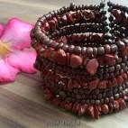 handmade bracelet beads cuff link stone maron