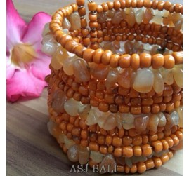 handmade bracelet beads cuff link stone orange