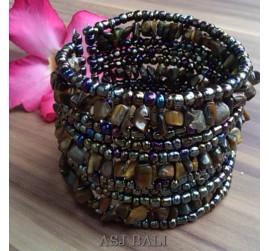 handmade bracelet beads cuff link stone paua