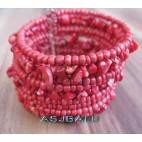 handmade bracelet beads cuff link stone red