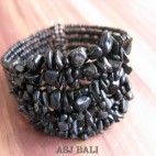 stone beads cuff bracelets black dark color bali