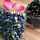 stone beads cuff bracelets blue color bali