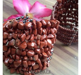 stone beads cuff bracelets brown color bali
