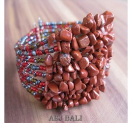 stone beads cuff bracelets brown mix color bali