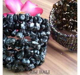 stone beads cuff bracelets grey color bali