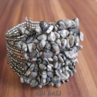 stone beads cuff bracelets natural color bali