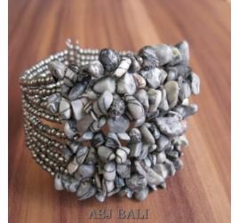 stone beads cuff bracelets natural color bali