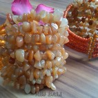 stone beads cuff bracelets orange color bali