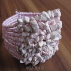 stone beads cuff bracelets pink color bali