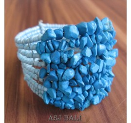 stone beads cuff bracelets turquoise color bali