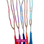 5color natural tassel necklaces beads with wood