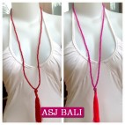 bali stone beaded tassels necklaces pendant skull 2color