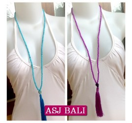 bali stone beads tassels necklace pendant skull