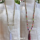 organic wooden beads tassels pendant necklaces