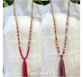 organic wooden beads tassels necklaces bali