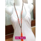 two color beads orange tassels necklaces with wood natural