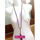 two color beads purple tassels with wood natural