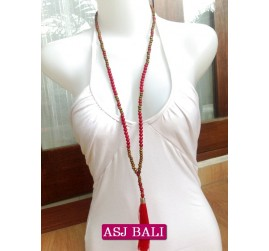 two color beads red tassels necklaces with wood natural