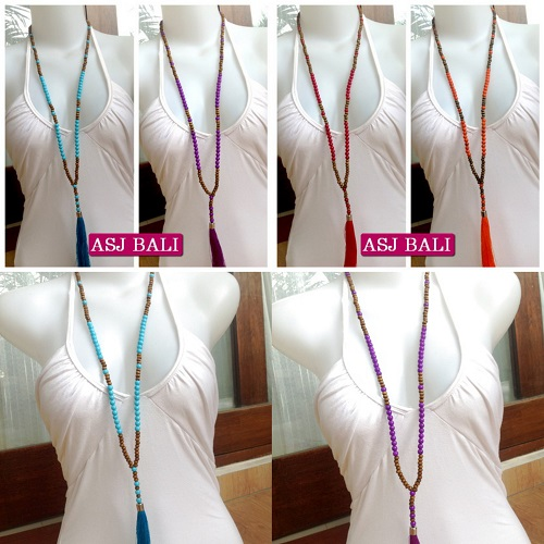 4  color shown beads tassels necklaces with wood natural