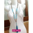 two color beads tassels turquoise with wood natural