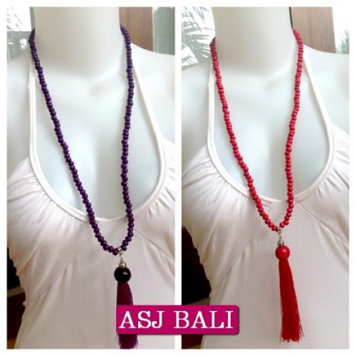 wooden beads tassels necklaces handmade