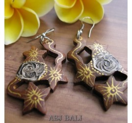 natural hand painted flower wooden earrings