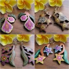 bali hand carving wooden earrings hand painting color floral