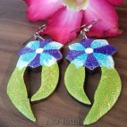 hand painting wood earring flower unique design